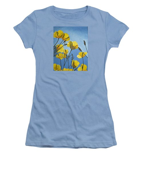 Women's T-Shirt (Junior Cut) featuring the painting Poppies In The Sun by Donna Blossom