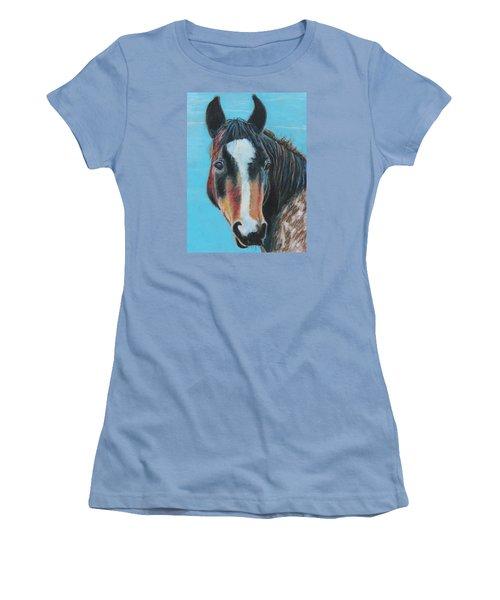 Portrait Of A Wild Horse Women's T-Shirt (Junior Cut) by Jeanne Fischer