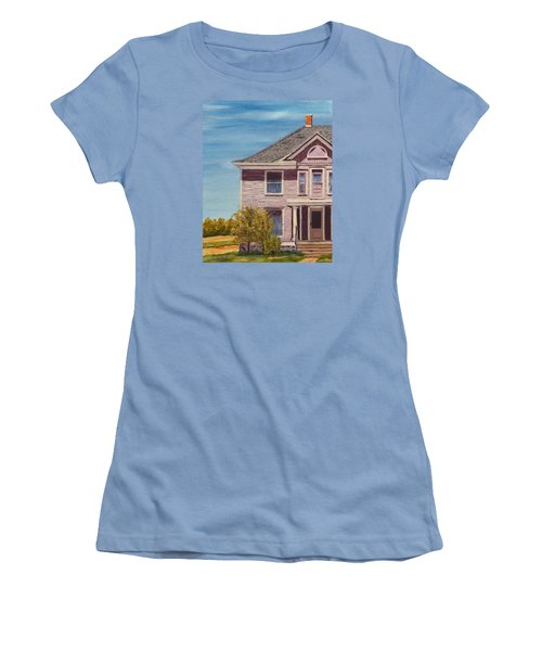 Purple House On The Prairie Women's T-Shirt (Junior Cut) by Alan Mager