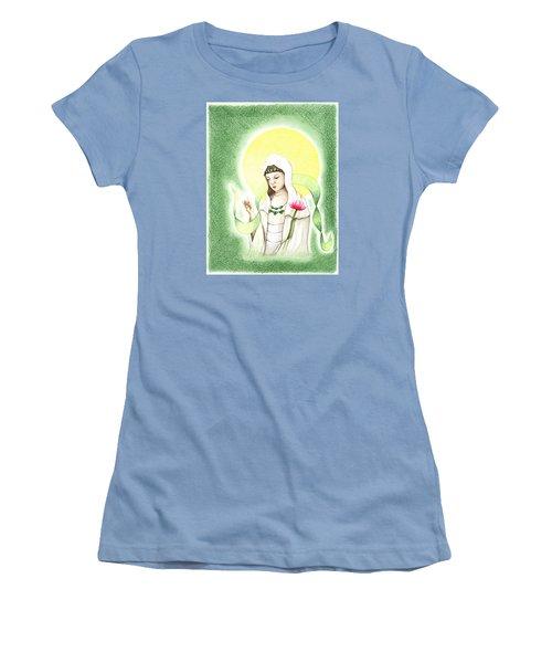 Quan Yin Women's T-Shirt (Junior Cut) by Keiko Katsuta