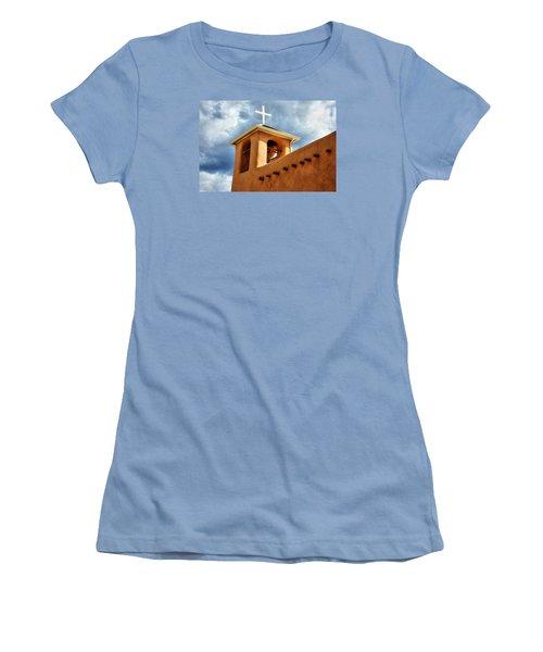 Women's T-Shirt (Junior Cut) featuring the photograph Rancho De Taos Bell Tower And Cross by Lanita Williams