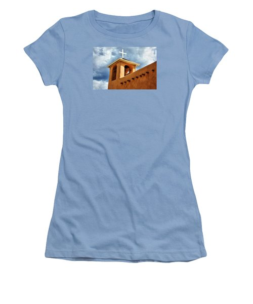 Rancho De Taos Bell Tower And Cross Women's T-Shirt (Athletic Fit)