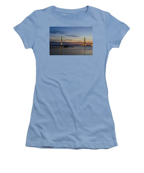 Women's T-Shirt (Junior Cut) featuring the photograph Ravenel Bridge Nightfall by Dale Powell