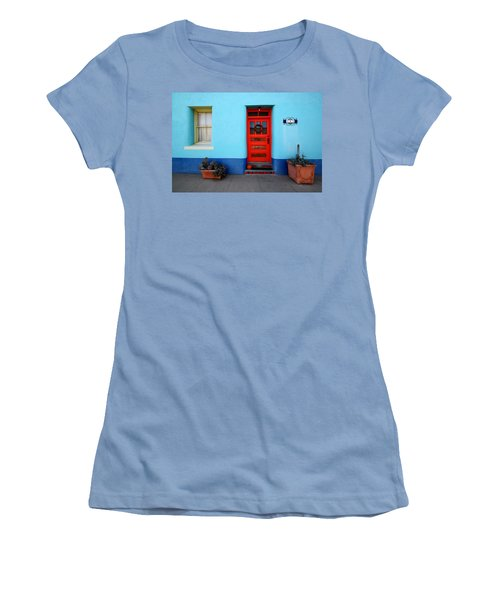 Red Door On Blue Wall Women's T-Shirt (Junior Cut) by Joe Kozlowski