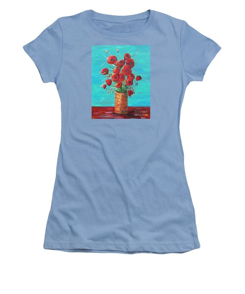 Women's T-Shirt (Junior Cut) featuring the painting Red On My Table  by Eloise Schneider