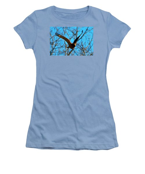 Women's T-Shirt (Junior Cut) featuring the photograph Red Tail Hawk In Flight by Peggy Franz