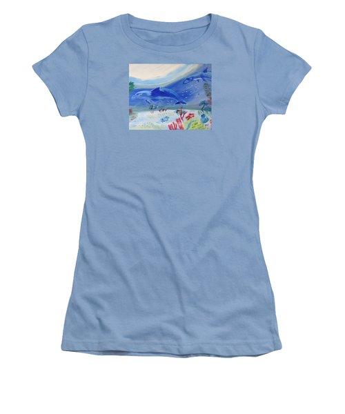 Rhythm Of The Sea Women's T-Shirt (Junior Cut) by Meryl Goudey