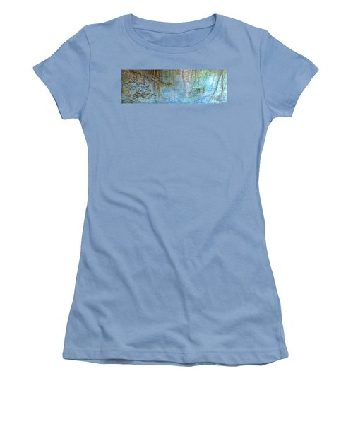Women's T-Shirt (Junior Cut) featuring the painting River's Stories  by Delona Seserman
