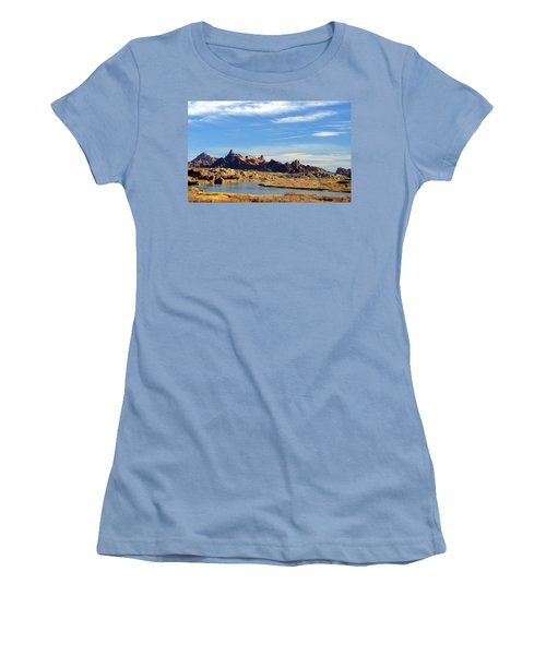 Women's T-Shirt (Junior Cut) featuring the photograph Route 66 Needles Mtn Range Two  Sold by Antonia Citrino