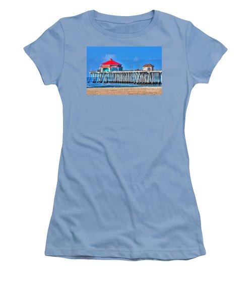 Ruby's Surf City Diner - Huntington Beach Pier Women's T-Shirt (Junior Cut) by Jim Carrell