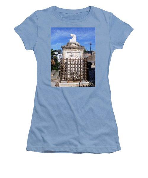 Women's T-Shirt (Junior Cut) featuring the photograph Saddest Statue Tomb by Alys Caviness-Gober