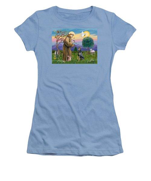 Saint Francis And Doberman Pinscher Women's T-Shirt (Athletic Fit)