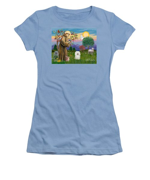 Saint Francis Blesses A Bolognese Women's T-Shirt (Athletic Fit)