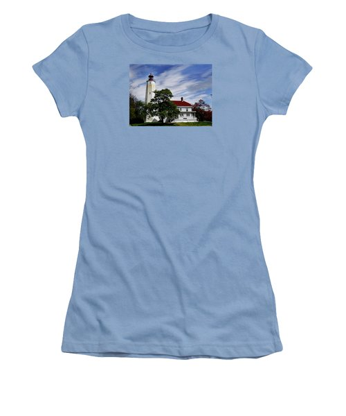 Sandy Hook Lighthouse Nj Women's T-Shirt (Junior Cut) by Skip Willits