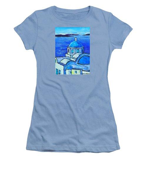 Santorini  Blue Women's T-Shirt (Junior Cut) by Ana Maria Edulescu