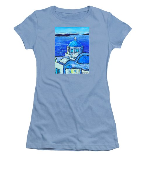Santorini  Blue Women's T-Shirt (Athletic Fit)