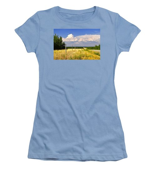 Women's T-Shirt (Junior Cut) featuring the photograph Sawmill Creek Road by Cathy Mahnke