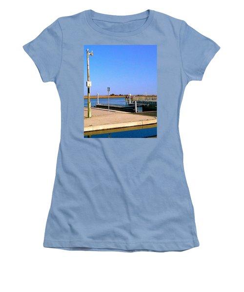 Women's T-Shirt (Junior Cut) featuring the photograph Sea Gulls Watching Over The Wetlands by Amazing Photographs AKA Christian Wilson