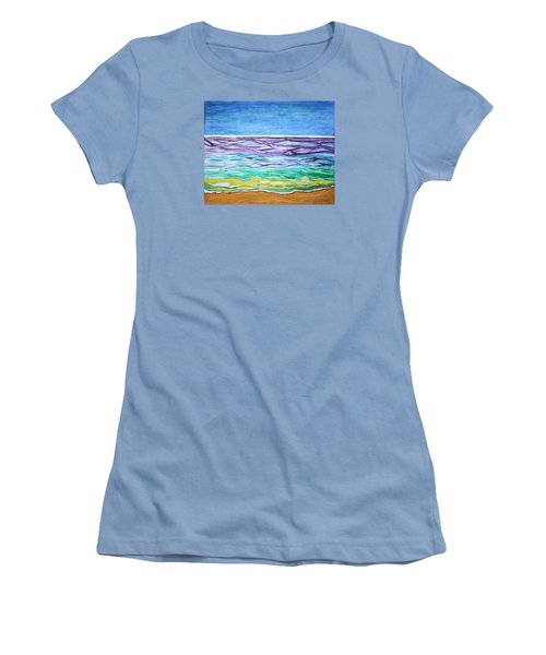 Women's T-Shirt (Junior Cut) featuring the painting Seashore Blue Sky by Stormm Bradshaw