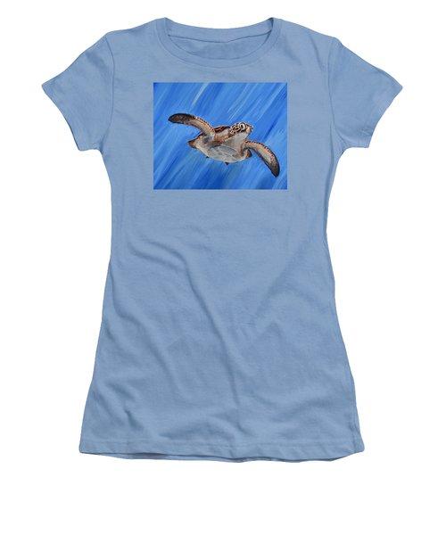 Seaturtle Women's T-Shirt (Junior Cut) by Steve Ozment