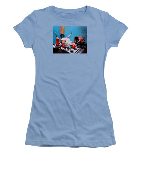Women's T-Shirt (Junior Cut) featuring the painting Skull Still Life by M Diane Bonaparte