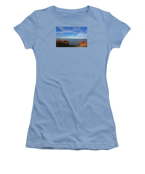 Women's T-Shirt (Junior Cut) featuring the photograph Sky Water And Grasses by Nareeta Martin