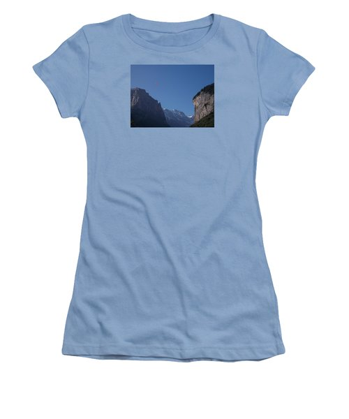 Skydiver Over Lauterbrunnen Women's T-Shirt (Athletic Fit)