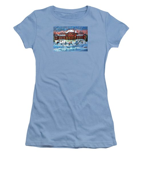 Sledding At The Gore Estate Women's T-Shirt (Junior Cut) by Rita Brown