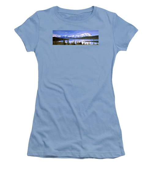Snow Covered Mountains, Mountain Range Women's T-Shirt (Athletic Fit)