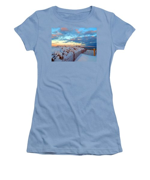 Snow Dunes At Sunrise Women's T-Shirt (Athletic Fit)