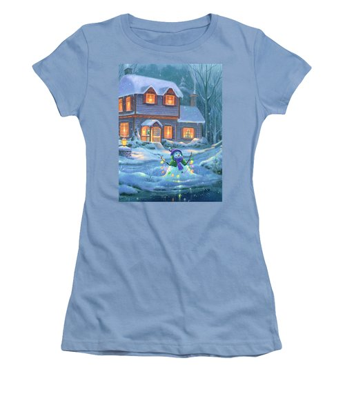 Women's T-Shirt (Junior Cut) featuring the painting Snowy Bright Night by Michael Humphries