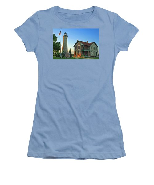Women's T-Shirt (Junior Cut) featuring the photograph Southport Lighthouse On Simmons Island by Kay Novy