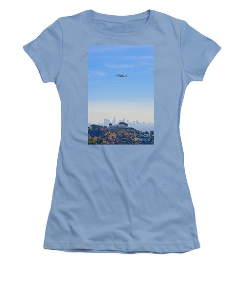 Space Shuttle Endeavour And Chase Planes Over The Griffith Observatory Women's T-Shirt (Athletic Fit)