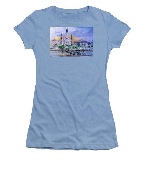 St. Charles New Orleans Sunset Women's T-Shirt (Junior Cut) by Bernadette Krupa
