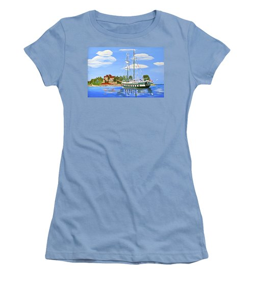 Women's T-Shirt (Junior Cut) featuring the painting St Lawrence Waterway 1000 Islands by Phyllis Kaltenbach