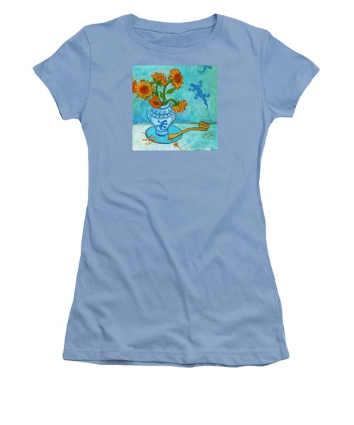 Women's T-Shirt (Athletic Fit) featuring the painting Sunflowers And Lizards by Xueling Zou