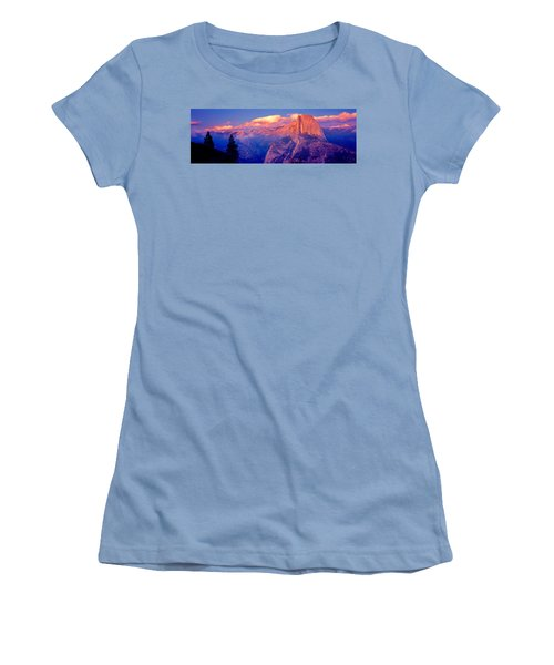 Sunlight Falling On A Mountain, Half Women's T-Shirt (Junior Cut) by Panoramic Images