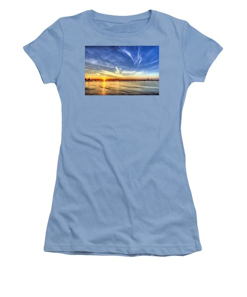 Sunset Mackinac Bridge Women's T-Shirt (Athletic Fit)