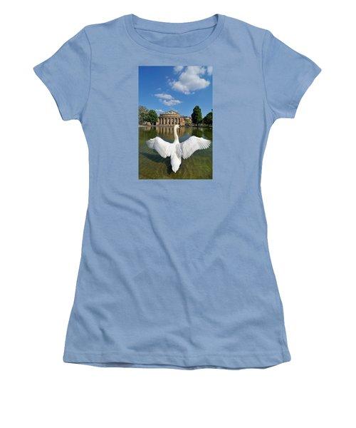 Swan Spreads Wings In Front Of State Theatre Stuttgart Germany Women's T-Shirt (Junior Cut) by Matthias Hauser