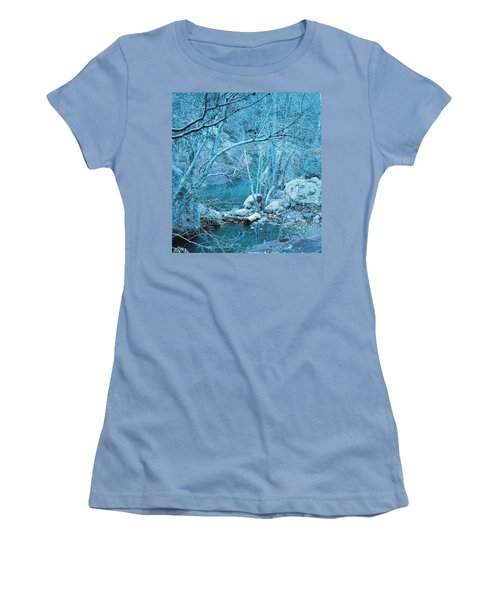 Women's T-Shirt (Junior Cut) featuring the photograph Sycamores And River by Kerri Mortenson