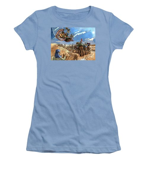 Women's T-Shirt (Junior Cut) featuring the painting Tammy And The Flying Carpet by Reynold Jay