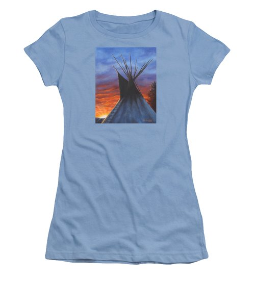 Women's T-Shirt (Junior Cut) featuring the painting Teepee At Sunset Part 2 by Kim Lockman