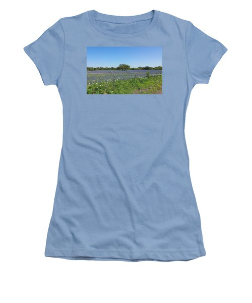Texas Blue Bonnets Women's T-Shirt (Junior Cut) by Shawn Marlow