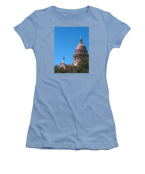 Texas State Capitol With Pediment Women's T-Shirt (Junior Cut) by Connie Fox