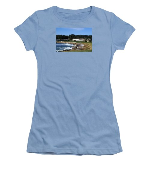 The 18th At Pebble Beach Women's T-Shirt (Junior Cut) by Barbara Snyder