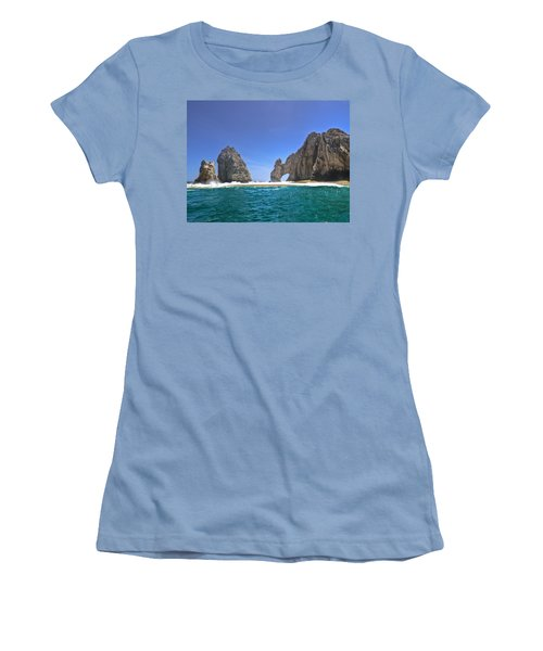 Women's T-Shirt (Junior Cut) featuring the photograph The Arch  Cabo San Lucas On A Low Tide by Eti Reid