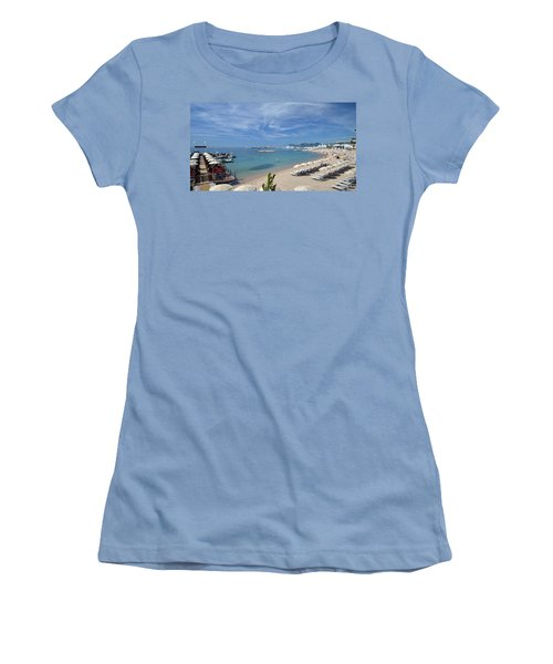 Women's T-Shirt (Junior Cut) featuring the photograph The Beach At Cannes by Allen Sheffield