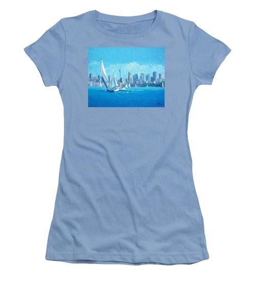 The Regatta Sydney Habour By Jan Matson Women's T-Shirt (Junior Cut) by Jan Matson