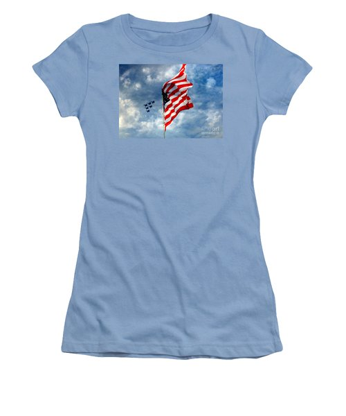 The Star Spangled Banner Yet Waves Women's T-Shirt (Athletic Fit)