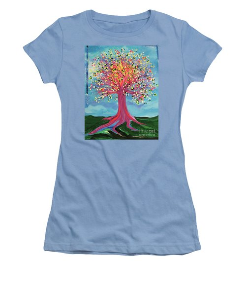 Women's T-Shirt (Junior Cut) featuring the painting Tori's Tree By Jrr by First Star Art